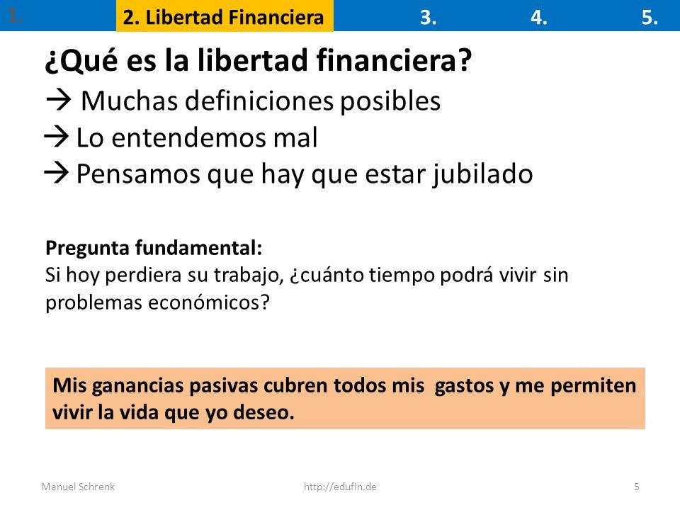 1. 2. Libertad Financiera3.4.5. 5http://edufin.deManuel Schrenk ¿Qué es la libertad financiera? Muchas definiciones posibles Pregunta fundamental: Si