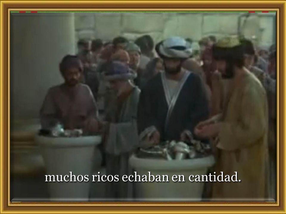 41 Estando Jesús sentado enfrente del arca de las ofrendas, observaba a la gente que iba echando dinero: