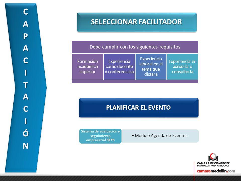 SELECCIONAR FACILITADOR PLANIFICAR EL EVENTO Modulo Agenda de Eventos Sistema de evaluación y seguimiento empresarial SEYS Debe cumplir con los siguie