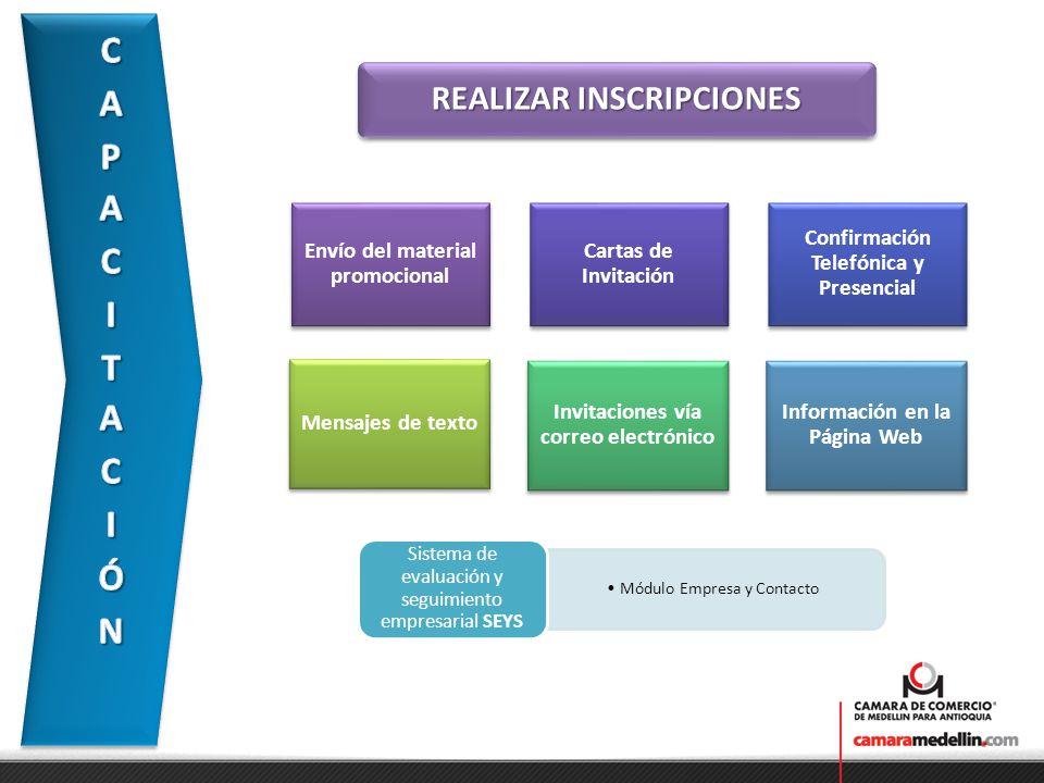 REALIZAR INSCRIPCIONES Módulo Empresa y Contacto Sistema de evaluación y seguimiento empresarial SEYS Envío del material promocional Cartas de Invitac