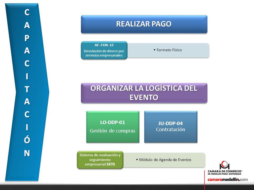 REALIZAR PAGO Formato Físico AF–FOR–12 Devolución de dinero por servicios empresariales ORGANIZAR LA LOGÍSTICA DEL EVENTO LO-DDP-01 Gestión de compras