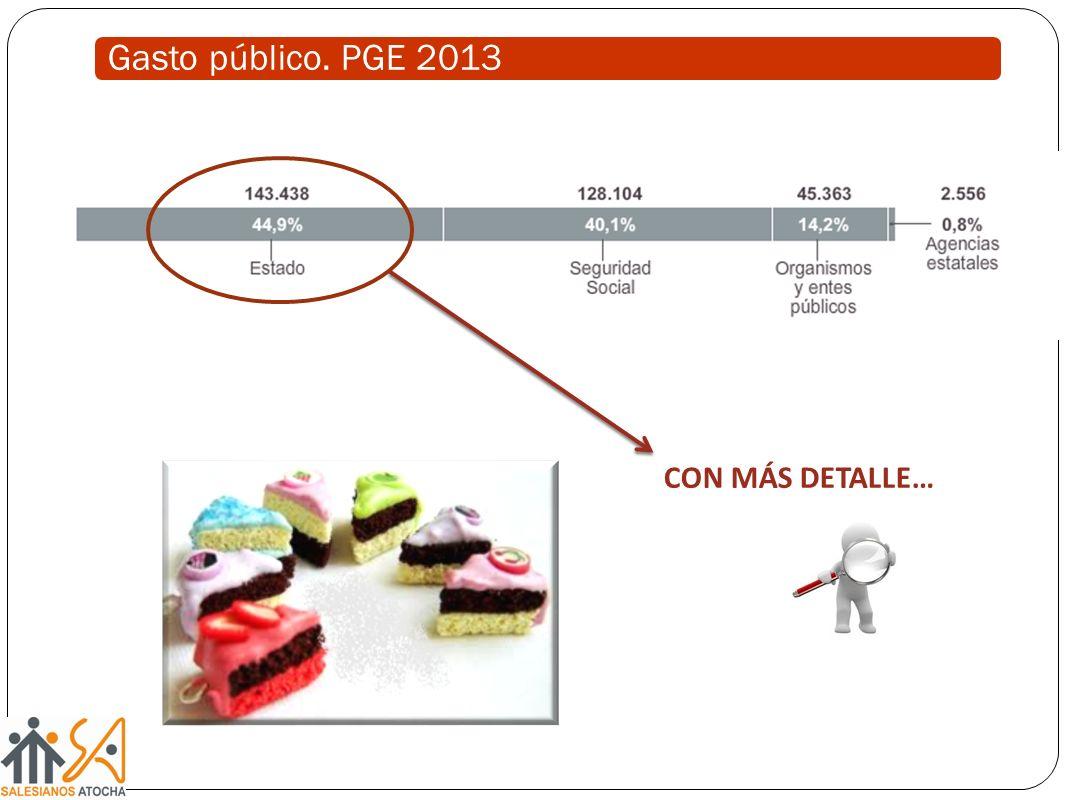 Gasto público. PGE 2013 CON MÁS DETALLE…