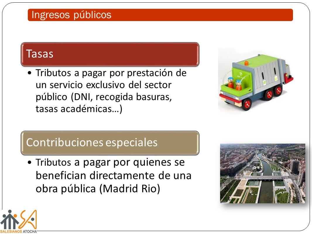 Ingresos públicos Tasas Tributos a pagar por prestación de un servicio exclusivo del sector público (DNI, recogida basuras, tasas académicas…) Contrib