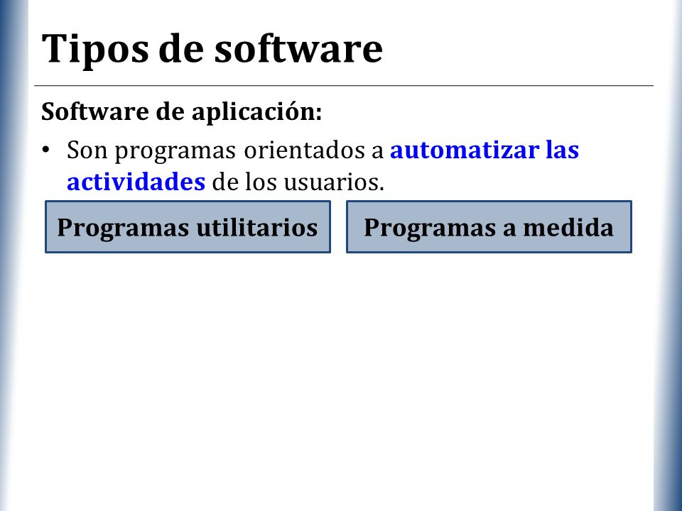 XP Tipos de software Software de aplicación: Son programas orientados a automatizar las actividades de los usuarios.