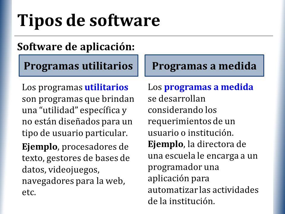 XP Tipos de software Software de aplicación: Programas utilitariosProgramas a medida Los programas utilitarios son programas que brindan una utilidad específica y no están diseñados para un tipo de usuario particular.
