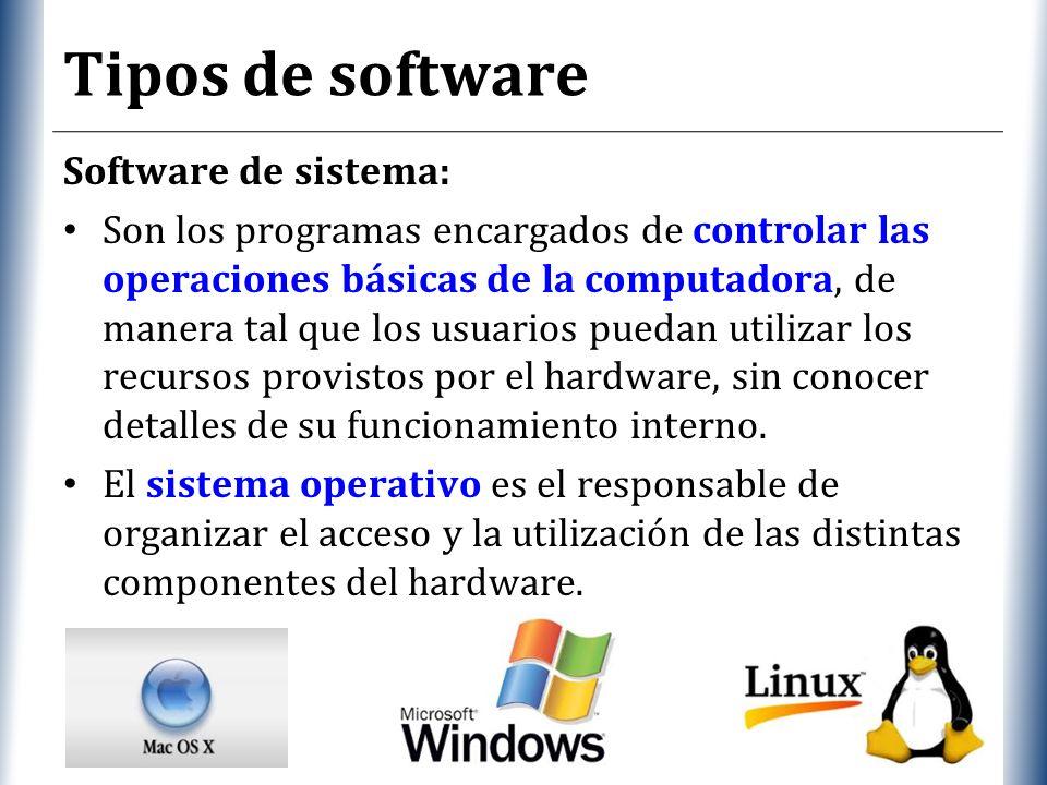 XP Tipos de software Software de sistema: Son los programas encargados de controlar las operaciones básicas de la computadora, de manera tal que los usuarios puedan utilizar los recursos provistos por el hardware, sin conocer detalles de su funcionamiento interno.