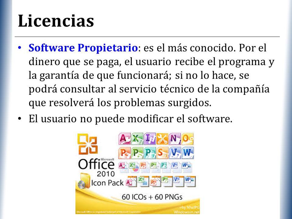XP Licencias Software Propietario: es el más conocido.