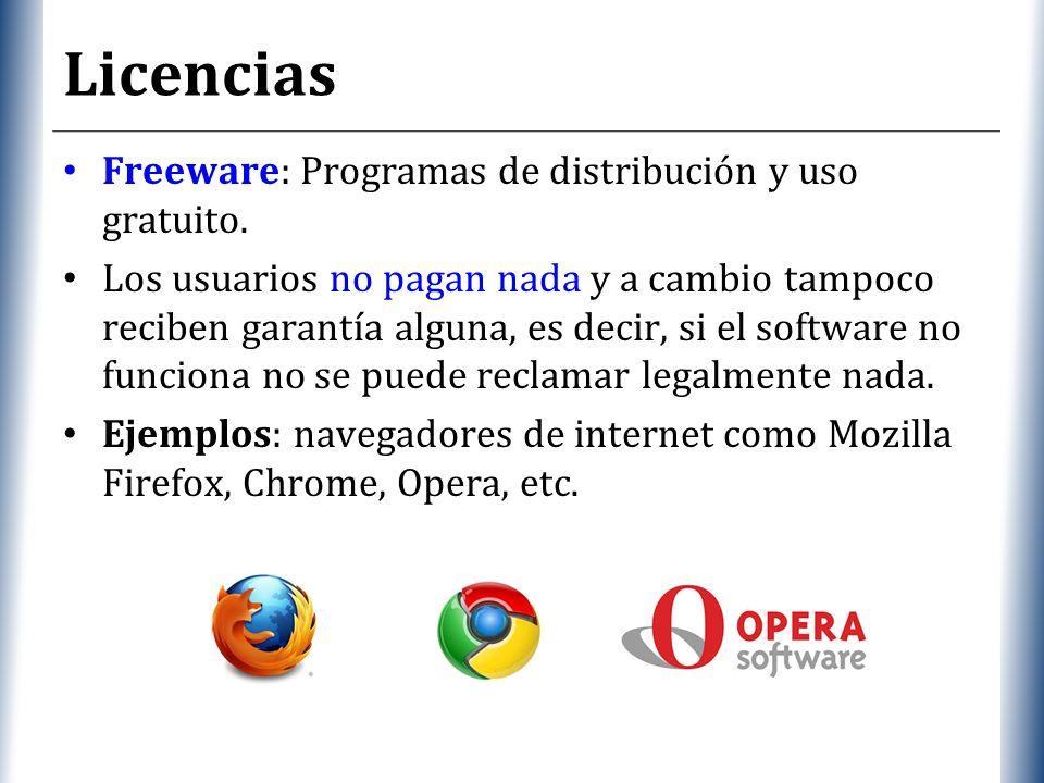 XP Licencias Freeware: Programas de distribución y uso gratuito.