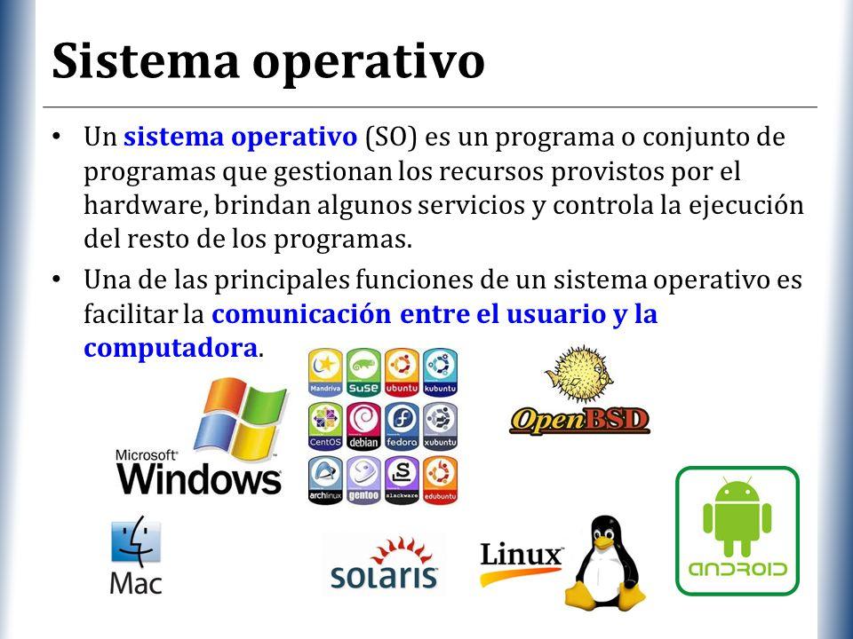 XP Sistema operativo Un sistema operativo (SO) es un programa o conjunto de programas que gestionan los recursos provistos por el hardware, brindan algunos servicios y controla la ejecución del resto de los programas.