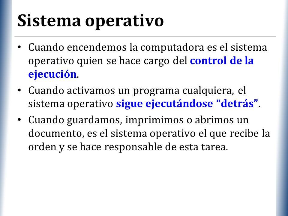 XP Sistema operativo Cuando encendemos la computadora es el sistema operativo quien se hace cargo del control de la ejecución.