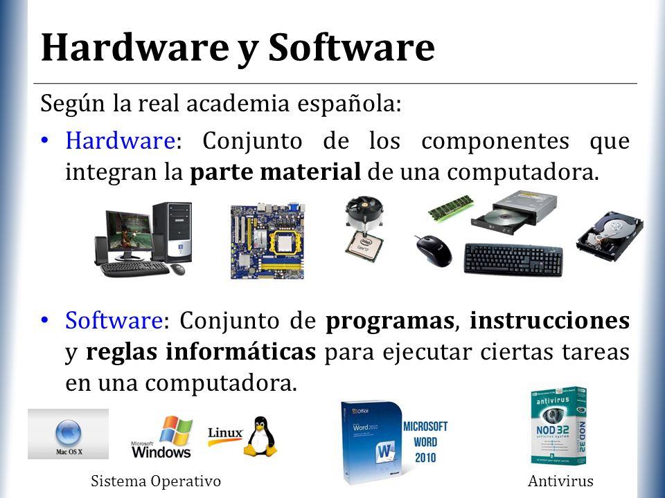 XP Hardware y Software Según la real academia española: Hardware: Conjunto de los componentes que integran la parte material de una computadora.
