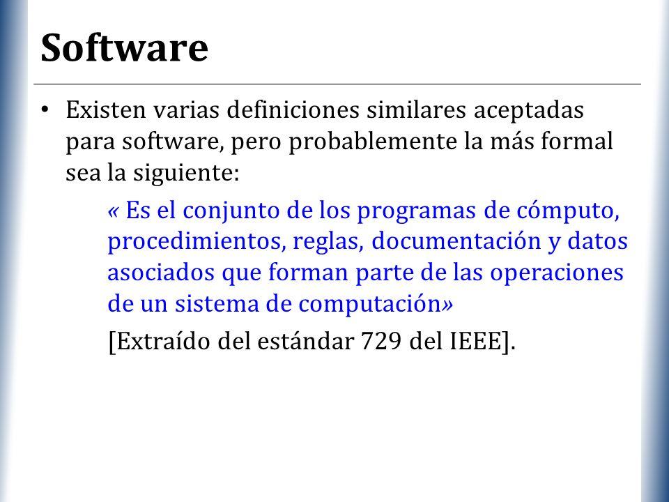 XP Software Considerando esta definición, el concepto de software va más allá de los programas de computación, también forman parte del software: – la documentación, – los datos a procesar, e incluso – la información de usuario.
