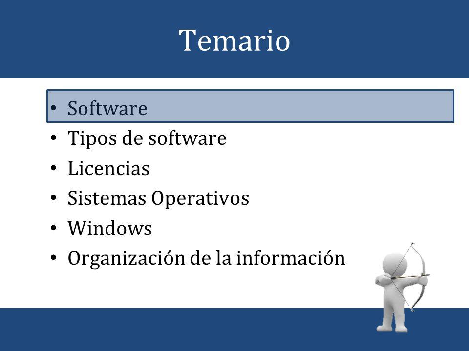XP Tipos de software Normalmente en una computadora residen programas de diferentes tipos: – Software de aplicación.