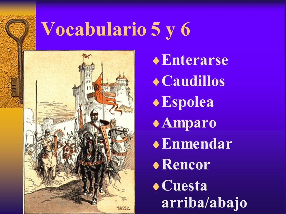 Vocabulario 5 y 6 Enterarse Caudillos Espolea Amparo Enmendar Rencor Cuesta arriba/abajo