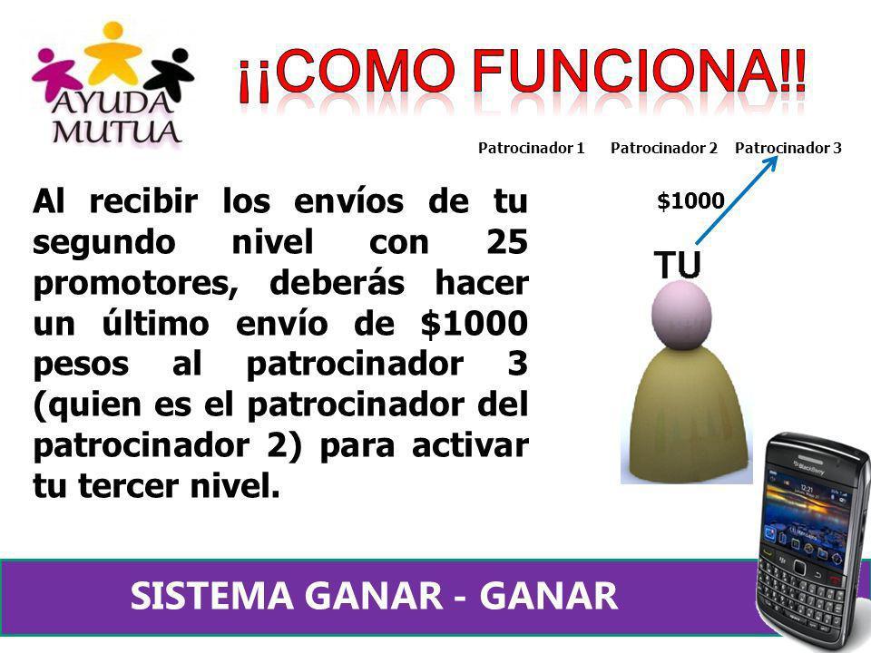 Al recibir los envíos de tu segundo nivel con 25 promotores, deberás hacer un último envío de $1000 pesos al patrocinador 3 (quien es el patrocinador