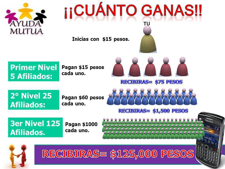 Primer Nivel 5 Afiliados: Inicias con $15 pesos. Pagan $1000 cada uno. 2° Nivel 25 Afiliados: Pagan $60 pesos cada uno. 3er Nivel 125 Afiliados. Pagan