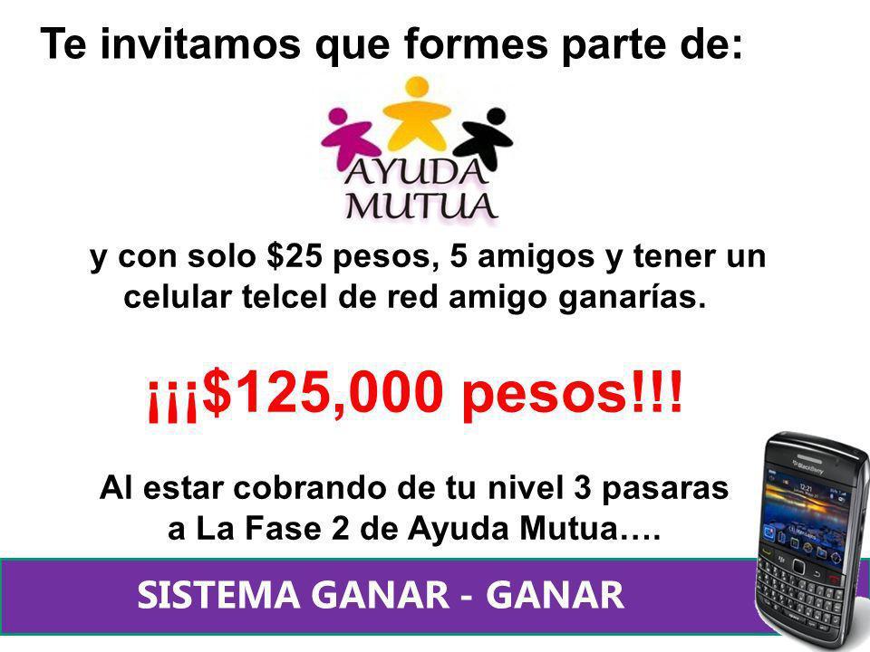 y con solo $25 pesos, 5 amigos y tener un celular telcel de red amigo ganarías. ¡¡¡$125,000 pesos!!! Al estar cobrando de tu nivel 3 pasaras a La Fase