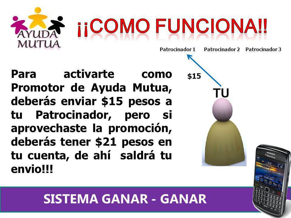 Para activarte como Promotor de Ayuda Mutua, deberás enviar $15 pesos a tu Patrocinador, pero si aprovechaste la promoción, deberás tener $21 pesos en