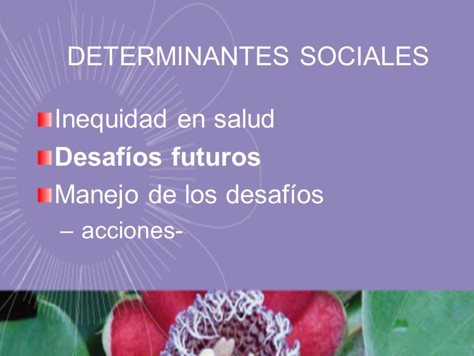Inequidad en salud Desafíos futuros Manejo de los desafíos – acciones- DETERMINANTES SOCIALES