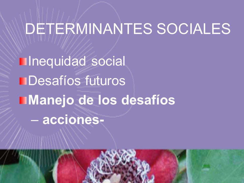 Inequidad social Desafíos futuros Manejo de los desafíos – acciones- DETERMINANTES SOCIALES