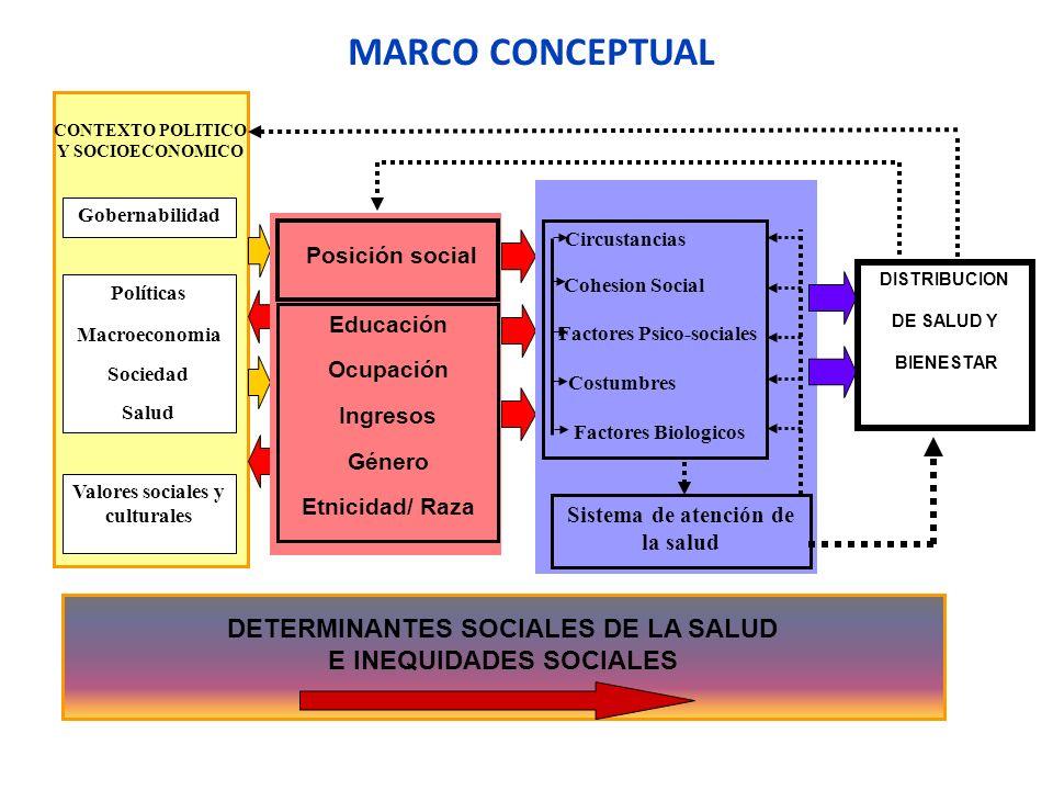 MARCO CONCEPTUAL DETERMINANTES SOCIALES DE LA SALUD E INEQUIDADES SOCIALES CONTEXTO POLITICO Y SOCIOECONOMICO Gobernabilidad Políticas Macroeconomia S