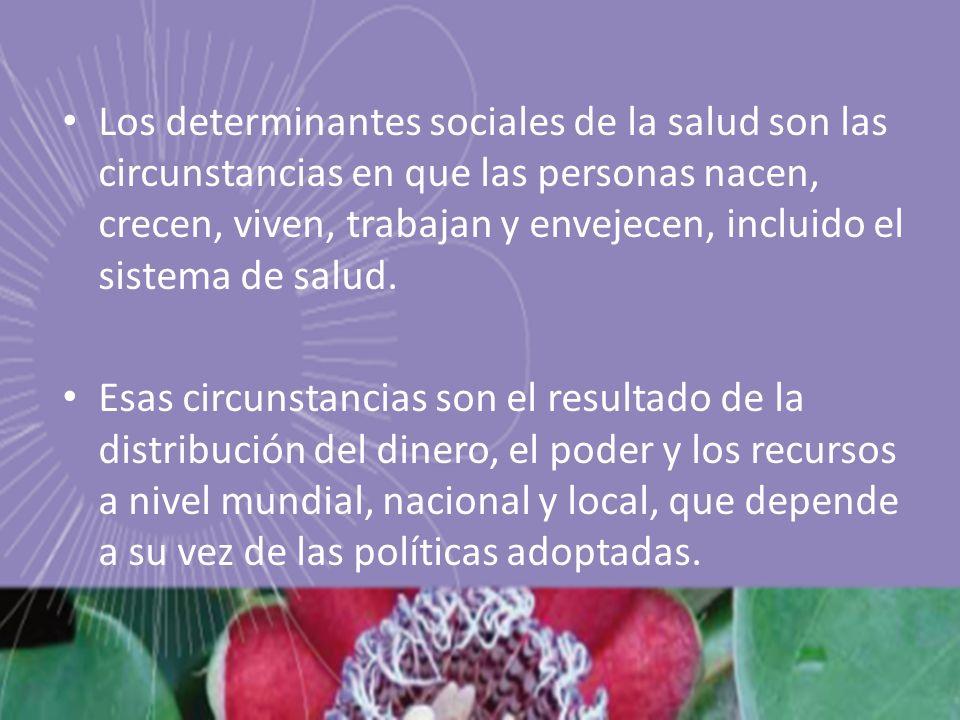 Los determinantes sociales de la salud son las circunstancias en que las personas nacen, crecen, viven, trabajan y envejecen, incluido el sistema de s