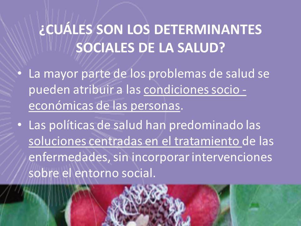 ¿CUÁLES SON LOS DETERMINANTES SOCIALES DE LA SALUD? La mayor parte de los problemas de salud se pueden atribuir a las condiciones socio - económicas d