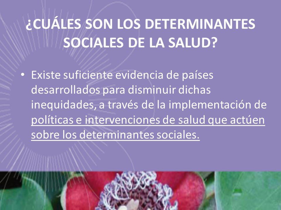 ¿CUÁLES SON LOS DETERMINANTES SOCIALES DE LA SALUD? Existe suficiente evidencia de países desarrollados para disminuir dichas inequidades, a través de