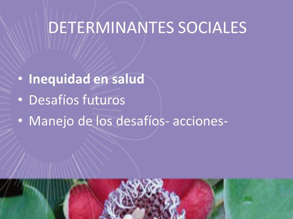 DETERMINANTES SOCIALES Inequidad en salud Desafíos futuros Manejo de los desafíos- acciones-
