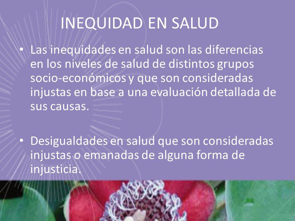 INEQUIDAD EN SALUD Las inequidades en salud son las diferencias en los niveles de salud de distintos grupos socio-económicos y que son consideradas in