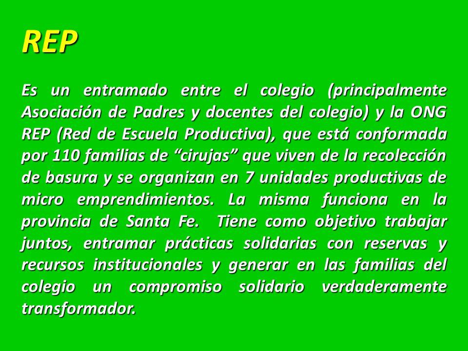 REP Es un entramado entre el colegio (principalmente Asociación de Padres y docentes del colegio) y la ONG REP (Red de Escuela Productiva), que está conformada por 110 familias de cirujas que viven de la recolección de basura y se organizan en 7 unidades productivas de micro emprendimientos.