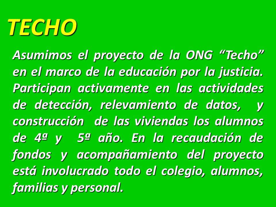 TECHO Asumimos el proyecto de la ONG Techo en el marco de la educación por la justicia.