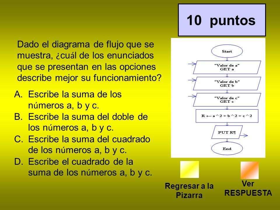 Regresar a la Pizarra 10 puntos Ver RESPUESTA Dado el diagrama de flujo que se muestra, ¿ cu á l de los enunciados que se presentan en las opciones describe mejor su funcionamiento.