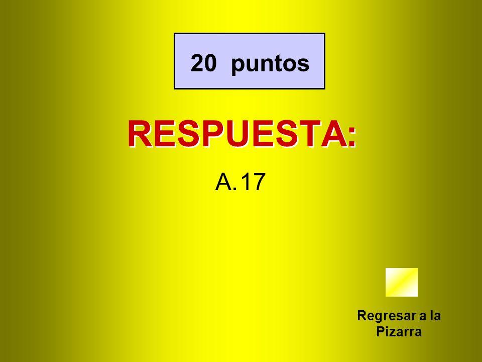 RESPUESTA: Regresar a la Pizarra 20 puntos A.17