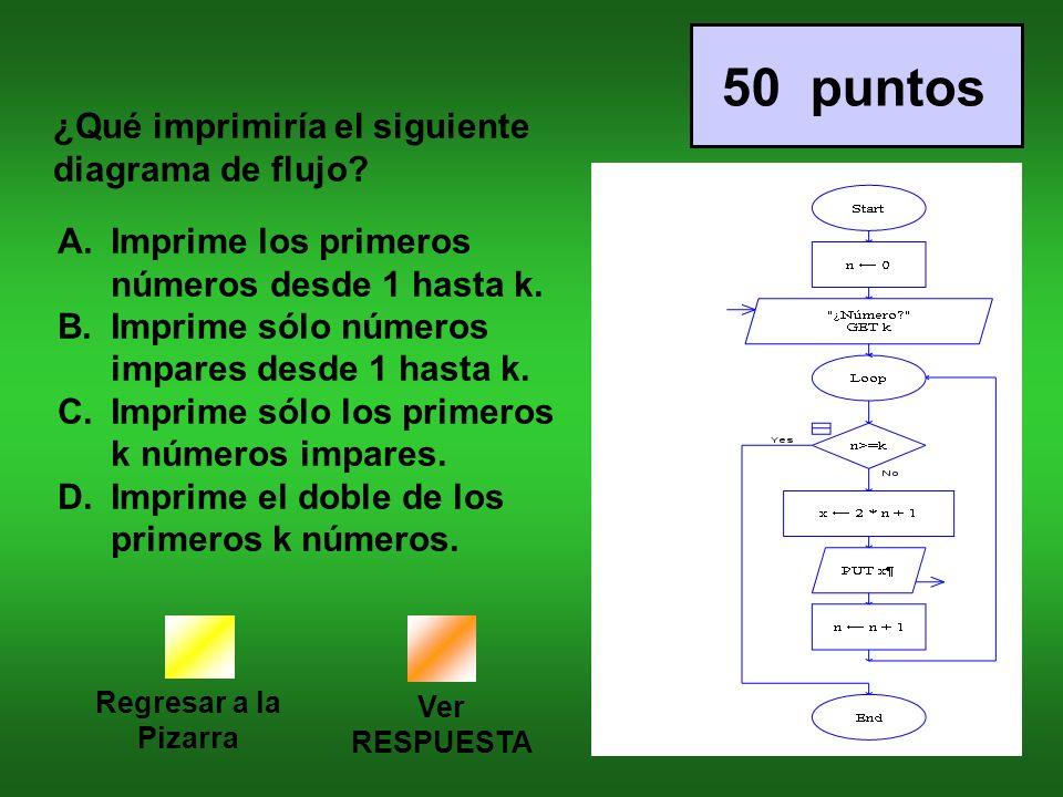 Regresar a la Pizarra Ver RESPUESTA 50 puntos ¿Qué imprimiría el siguiente diagrama de flujo.