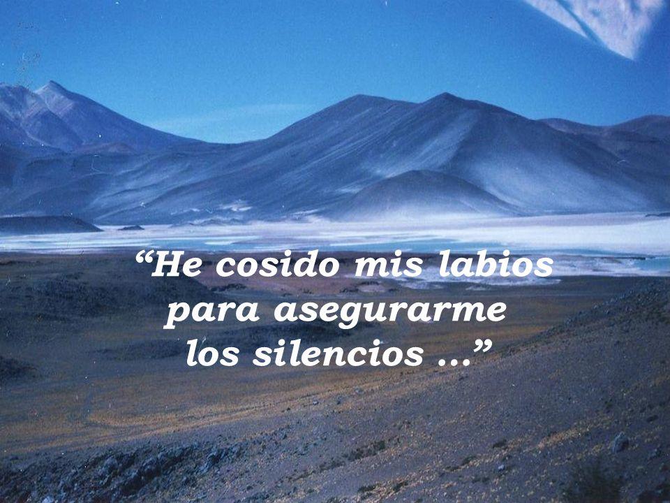 He cosido mis labios para asegurarme los silencios …