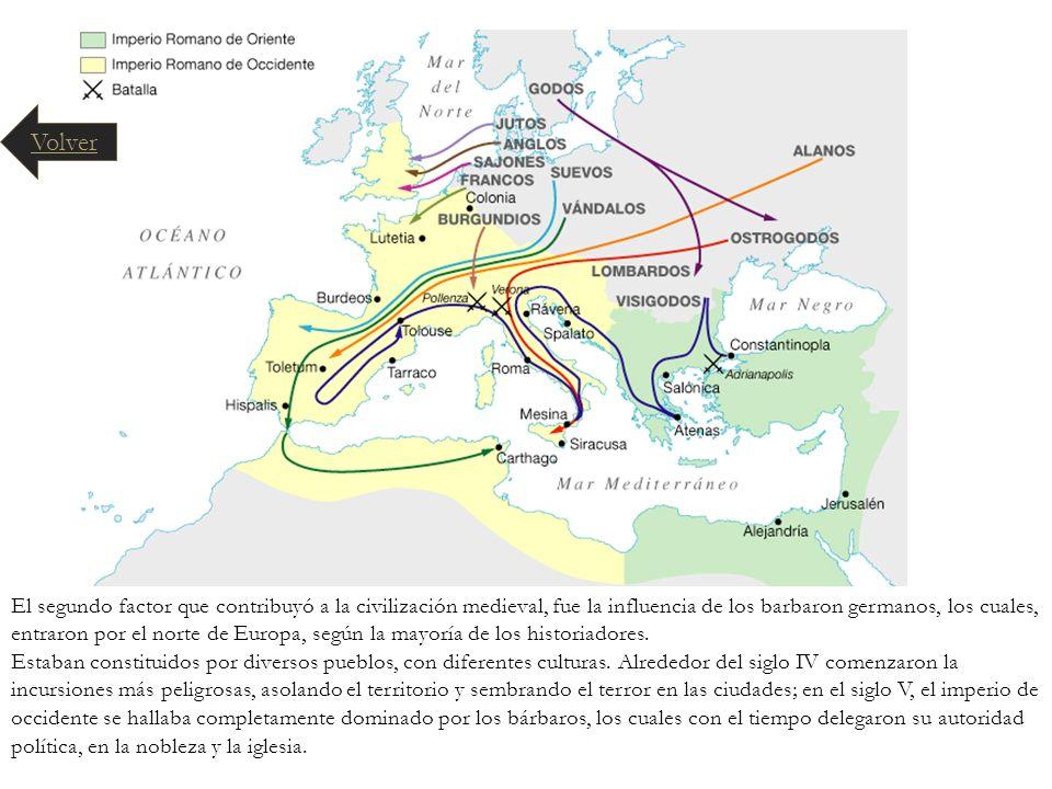 El segundo factor que contribuyó a la civilización medieval, fue la influencia de los barbaron germanos, los cuales, entraron por el norte de Europa,