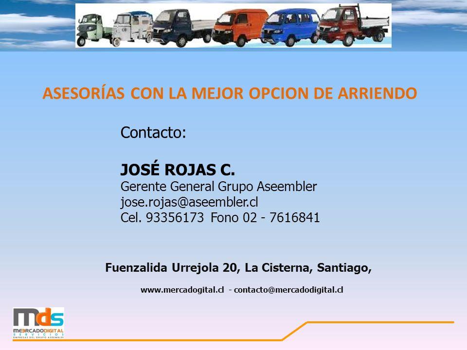 ASESORÍAS CON LA MEJOR OPCION DE ARRIENDO Fuenzalida Urrejola 20, La Cisterna, Santiago, www.mercadogital.cl - contacto@mercadodigital.cl Contacto: JO