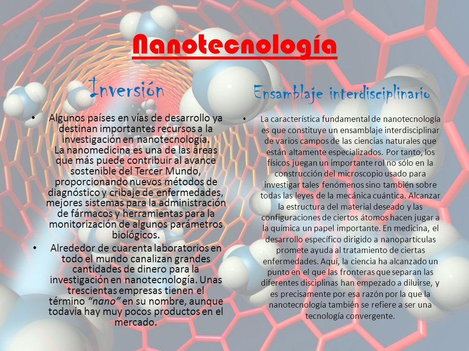 Inversión Algunos países en vías de desarrollo ya destinan importantes recursos a la investigación en nanotecnología.