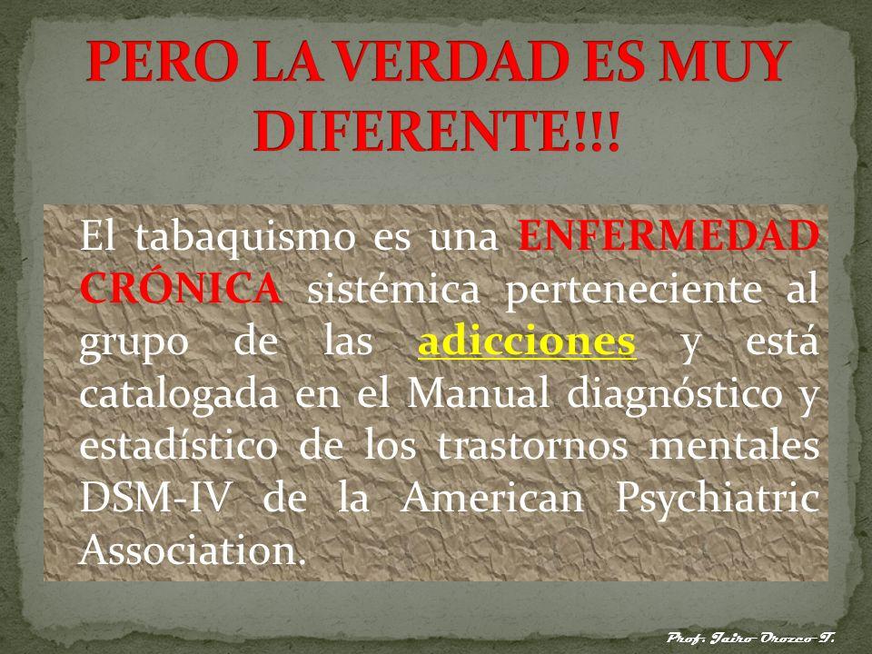 El tabaquismo es una ENFERMEDAD CRÓNICA sistémica perteneciente al grupo de las adicciones y está catalogada en el Manual diagnóstico y estadístico de los trastornos mentales DSM-IV de la American Psychiatric Association.