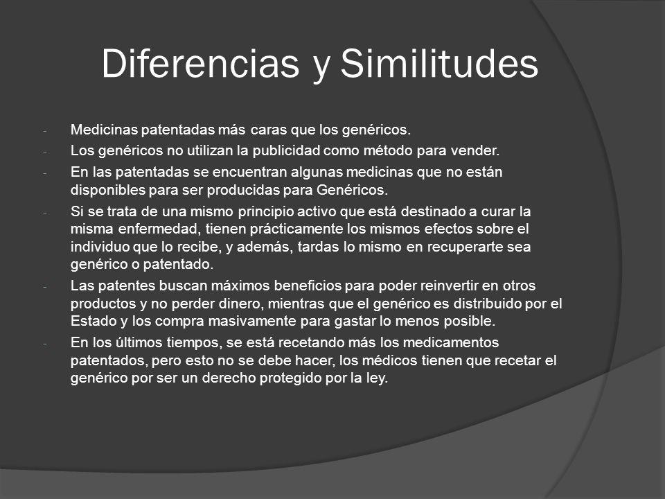 Diferencias y Similitudes - Medicinas patentadas más caras que los genéricos. - Los genéricos no utilizan la publicidad como método para vender. - En