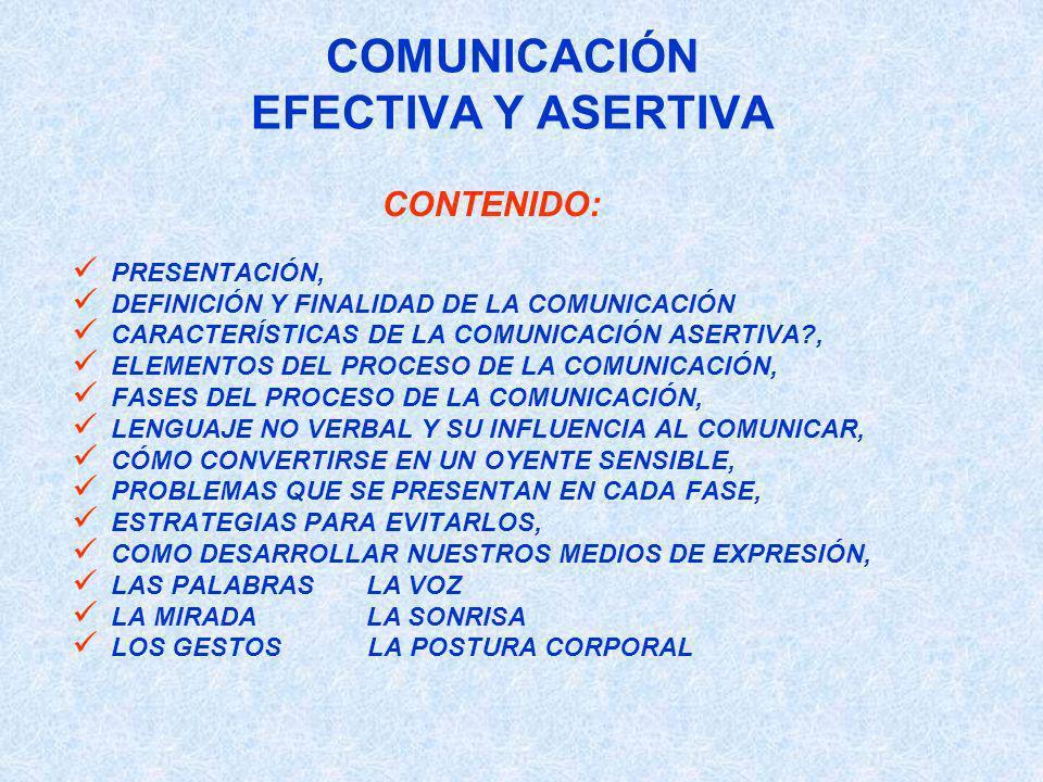 COMUNICACIÓN EFECTIVA Y ASERTIVA CONTENIDO: PRESENTACIÓN, DEFINICIÓN Y FINALIDAD DE LA COMUNICACIÓN CARACTERÍSTICAS DE LA COMUNICACIÓN ASERTIVA?, ELEM
