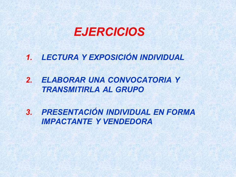 EJERCICIOS 1.LECTURA Y EXPOSICIÓN INDIVIDUAL 2.ELABORAR UNA CONVOCATORIA Y TRANSMITIRLA AL GRUPO 3.PRESENTACIÓN INDIVIDUAL EN FORMA IMPACTANTE Y VENDE