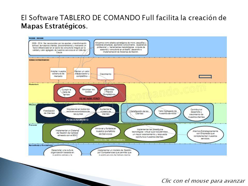 El Software TABLERO DE COMANDO Full facilita la creación de Mapas Estratégicos. Clic con el mouse para avanzar