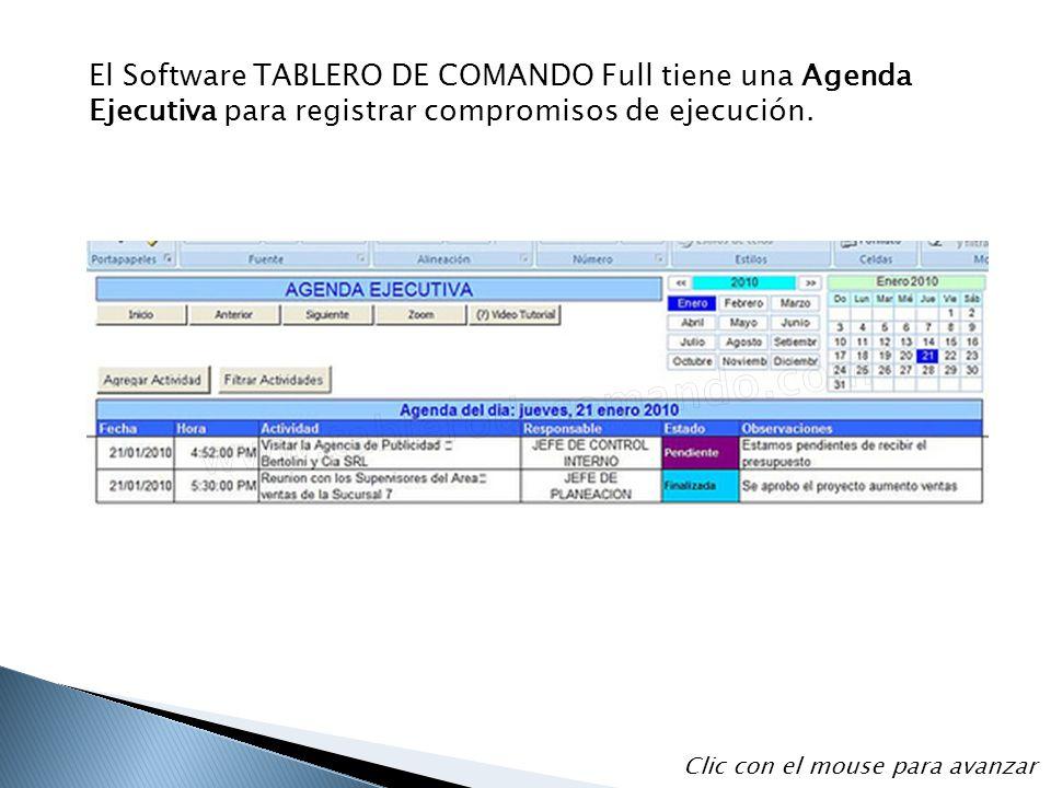 El Software TABLERO DE COMANDO Full tiene una Agenda Ejecutiva para registrar compromisos de ejecución. Clic con el mouse para avanzar