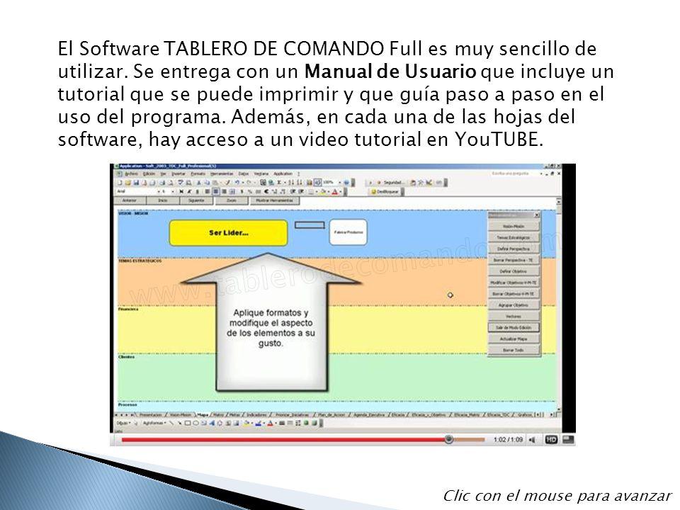 El Software TABLERO DE COMANDO Full es muy sencillo de utilizar. Se entrega con un Manual de Usuario que incluye un tutorial que se puede imprimir y q