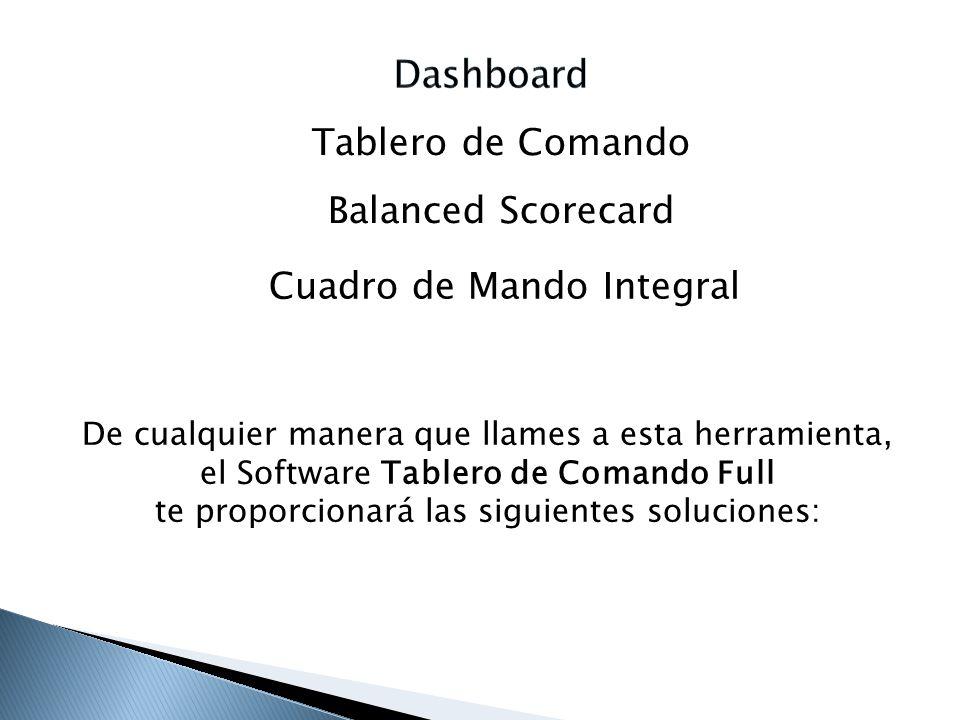 Tablero de Comando Balanced Scorecard Cuadro de Mando Integral De cualquier manera que llames a esta herramienta, el Software Tablero de Comando Full