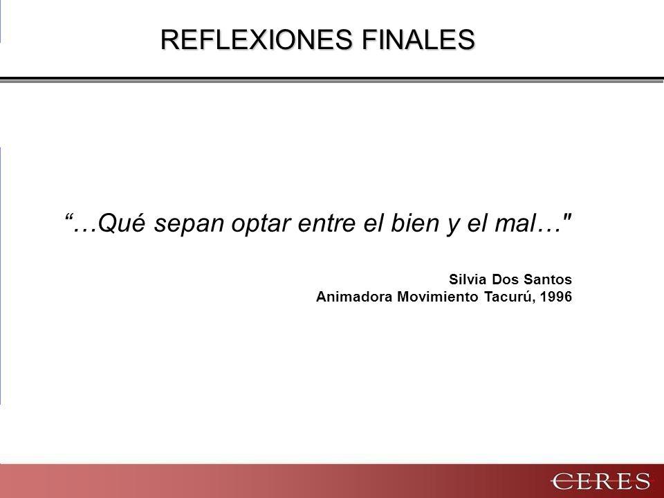 Silvia Dos Santos Animadora Movimiento Tacurú, 1996 …Qué sepan optar entre el bien y el mal… REFLEXIONES FINALES