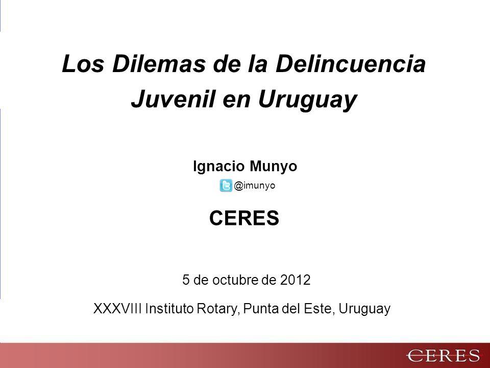 5 de octubre de 2012 Ignacio Munyo Los Dilemas de la Delincuencia Juvenil en Uruguay CERES XXXVIII Instituto Rotary, Punta del Este, Uruguay @imunyo