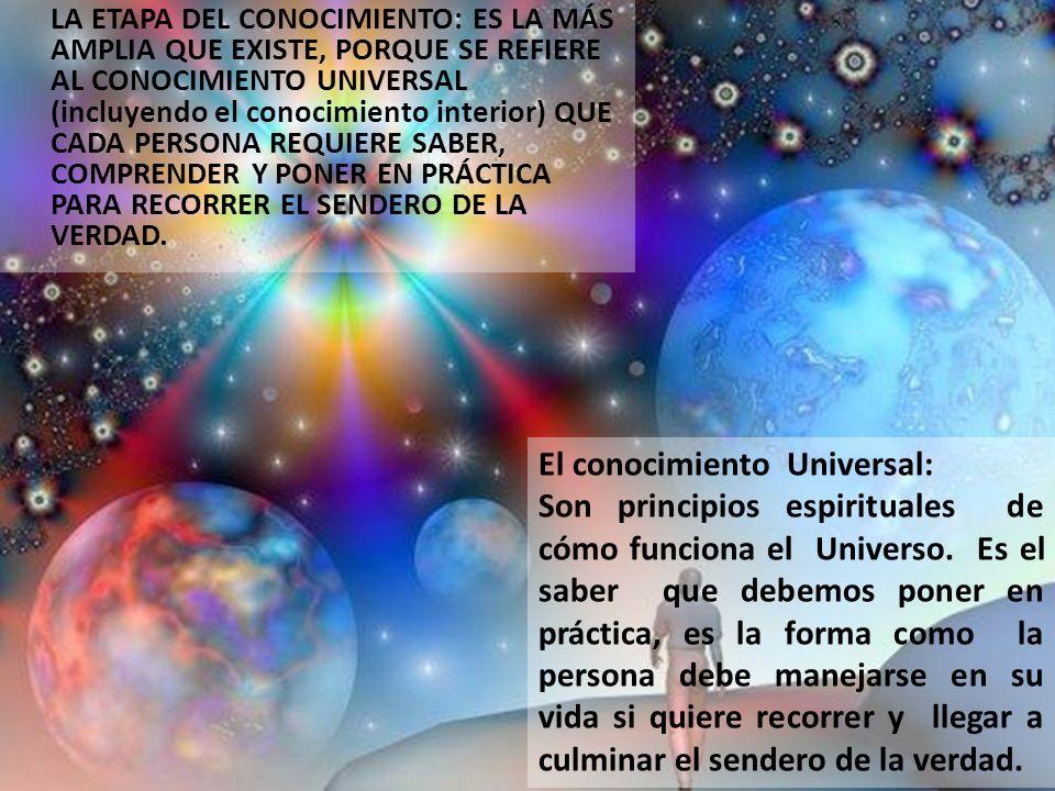 LA ETAPA DEL CONOCIMIENTO: ES LA MÁS AMPLIA QUE EXISTE, PORQUE SE REFIERE AL CONOCIMIENTO UNIVERSAL (incluyendo el conocimiento interior) QUE CADA PERSONA REQUIERE SABER, COMPRENDER Y PONER EN PRÁCTICA PARA RECORRER EL SENDERO DE LA VERDAD.